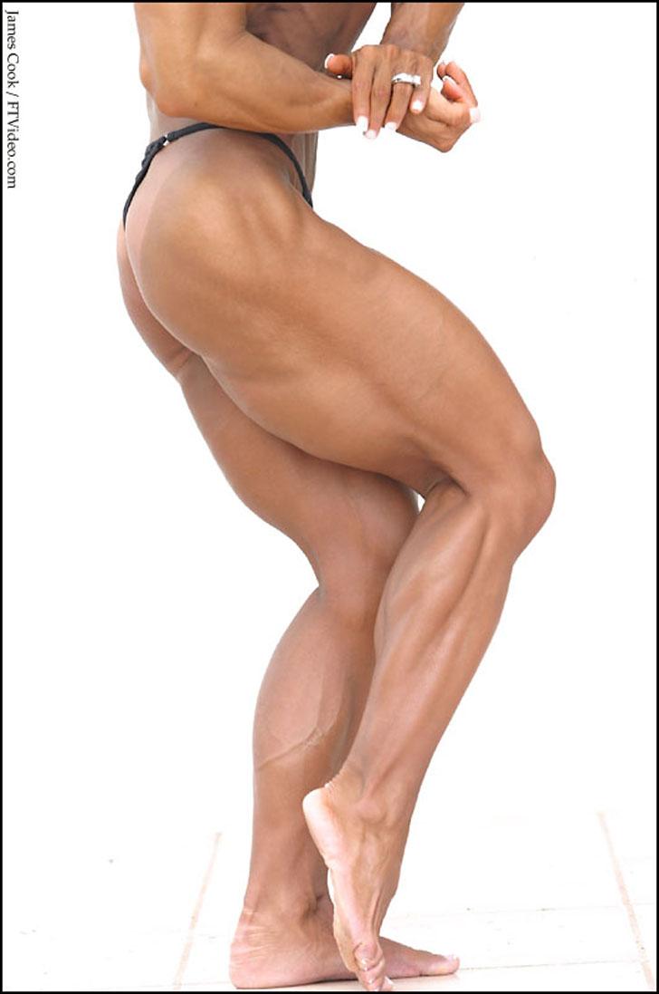 Barbara Fletcher Flexing Her Massive Quads And Muscular Calves