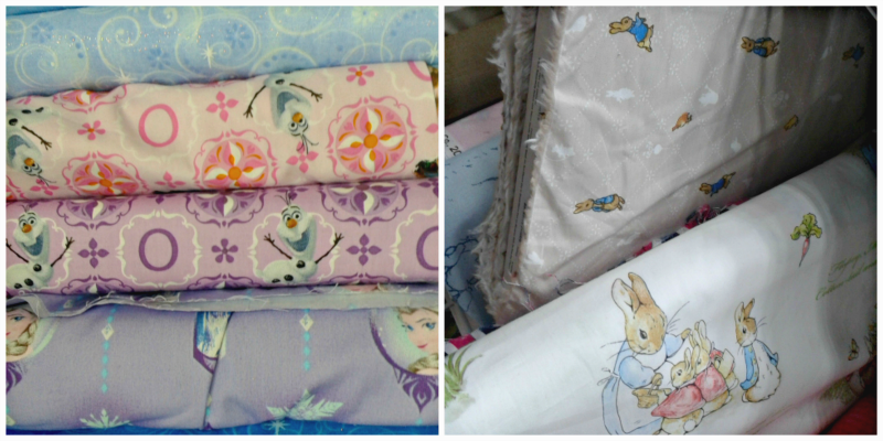 Frozen and Peter Rabbit fabrics
