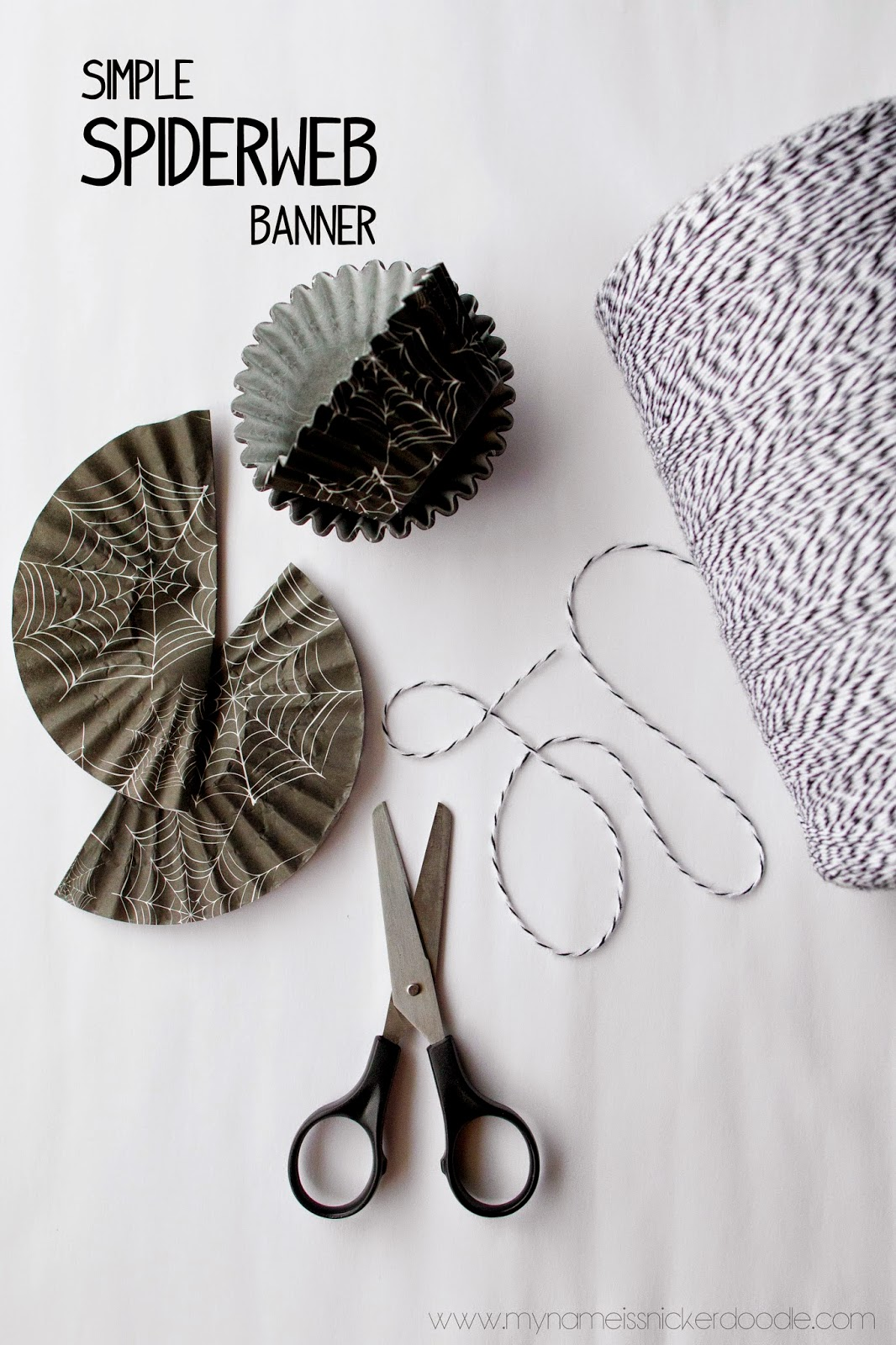 DIY Simple Spiderweb Banner Using Cupcake Liners | My Name Is Snickerdoodle