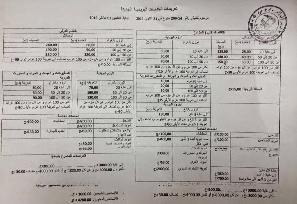 تفاصيل التعريفات والأسعار الجديدة للخدمات البريدية التي يقدمها بريد الجزائر2015 1528580_615446031919