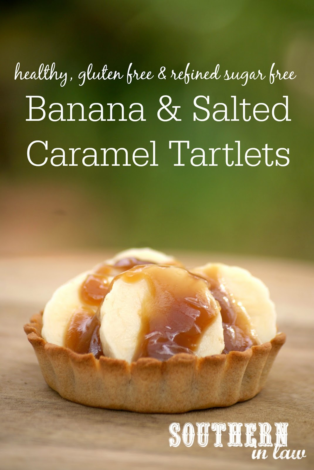 Healthy Salted Caramel and Banana Tartlets - low fat, gluten free, refined sugar free, vegan, healthy