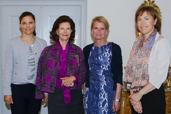 Princess Victoria And Queen Silvia Attends A Meeting At Royal Palace