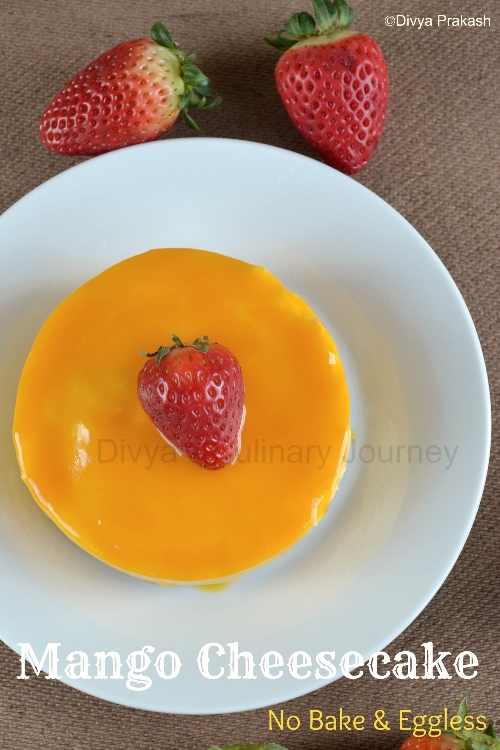 Mango cheesecake made without egg