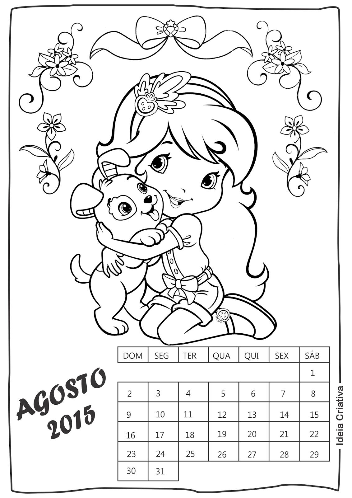 Calendário Agosto Moranguinho para imprimir e colorir