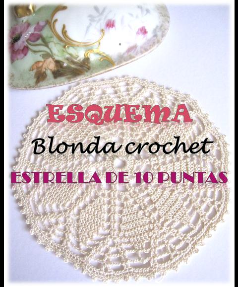 esquema blonda crochet estrella de 10 puntas descargable gratis