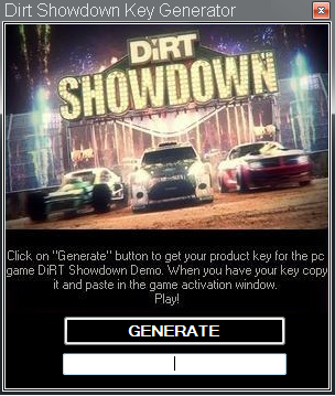 Download DiRT Showdown Key Generator + Crack. prototype 2 cd key generator.