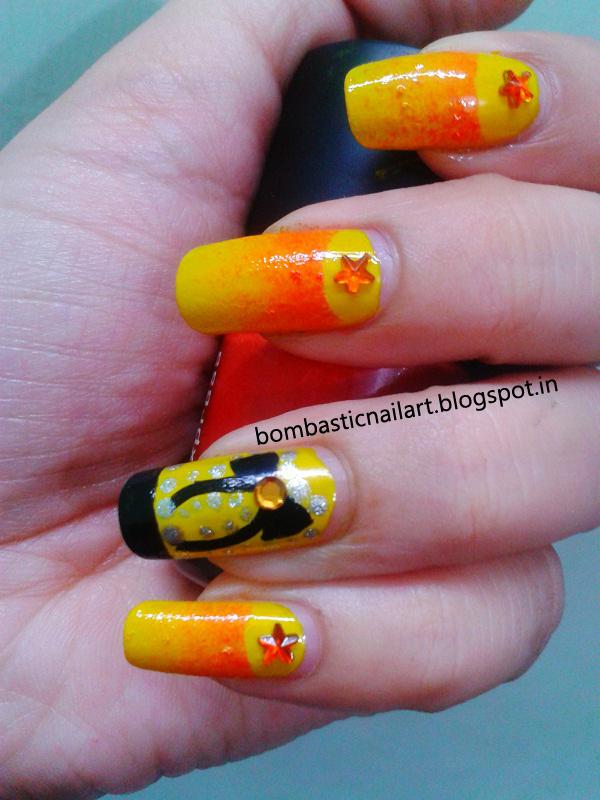 Yellow Half Moon Sponge Nail Art Tutorial Bombastic Nail Art