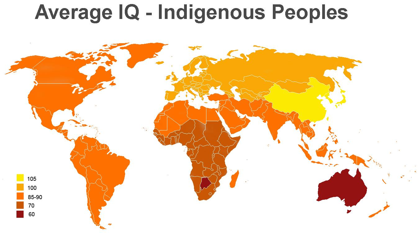 Shows the average iq of the different peoplesthroughout the world