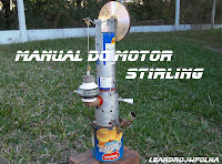 Manual do motor Stirling, motor caseiro do modelo Gama, com latas spray