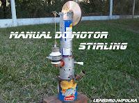Manual do motor Stirling, motor caseiro do modelo Gama, com latas spray