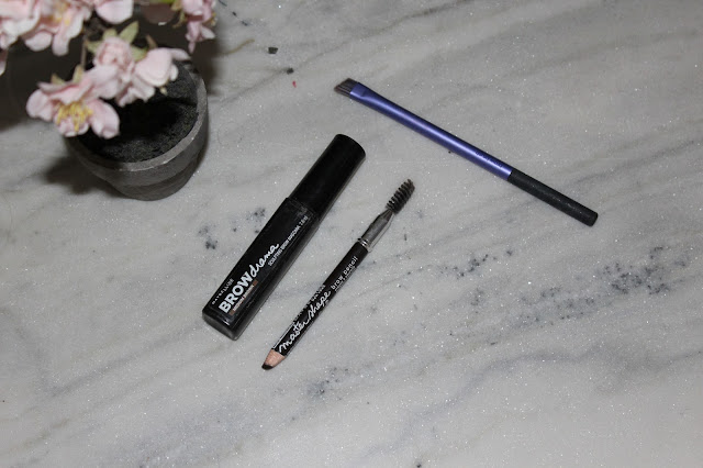 Maybelline brow drama and master shape brow pencil with the real techniques brown brush