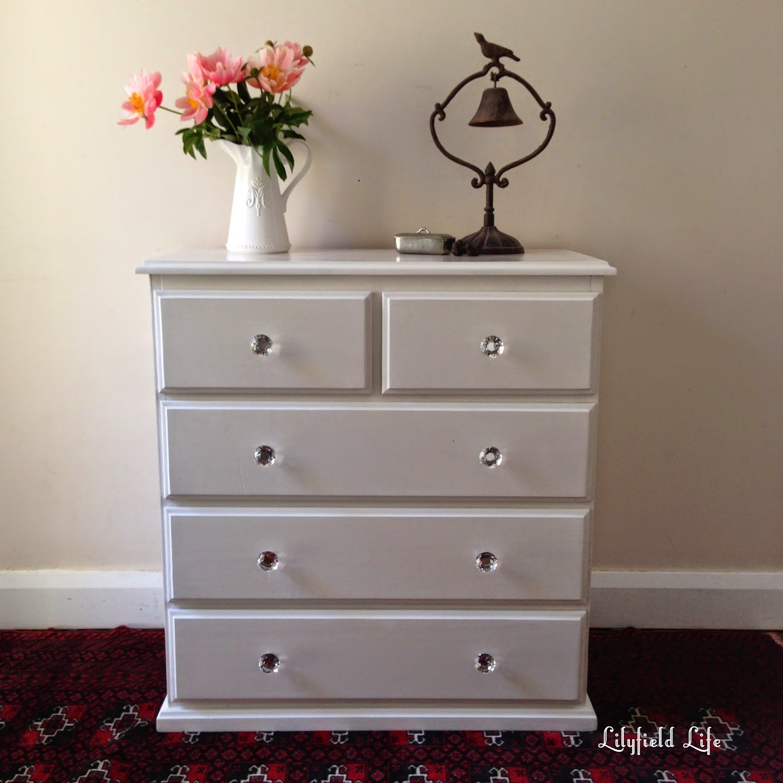 Pine chest of drawers painted white by Lilyfield Life