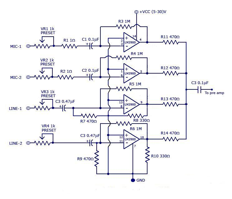 multi channel audio mixer circuit using lm3900 simple schematic diagram rh schematic audio blogspot com  simple dj mixer circuit diagram