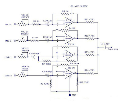 Multi-channel Audio Mixer using LM3900