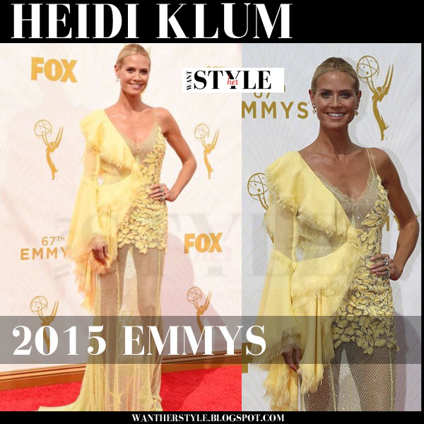 Heidi Klum in bright yellow asymmetric Versace gown 2015 emmys red carpet what she wore