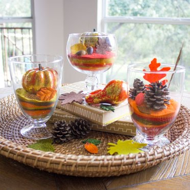 Easy fall sand art terrariums