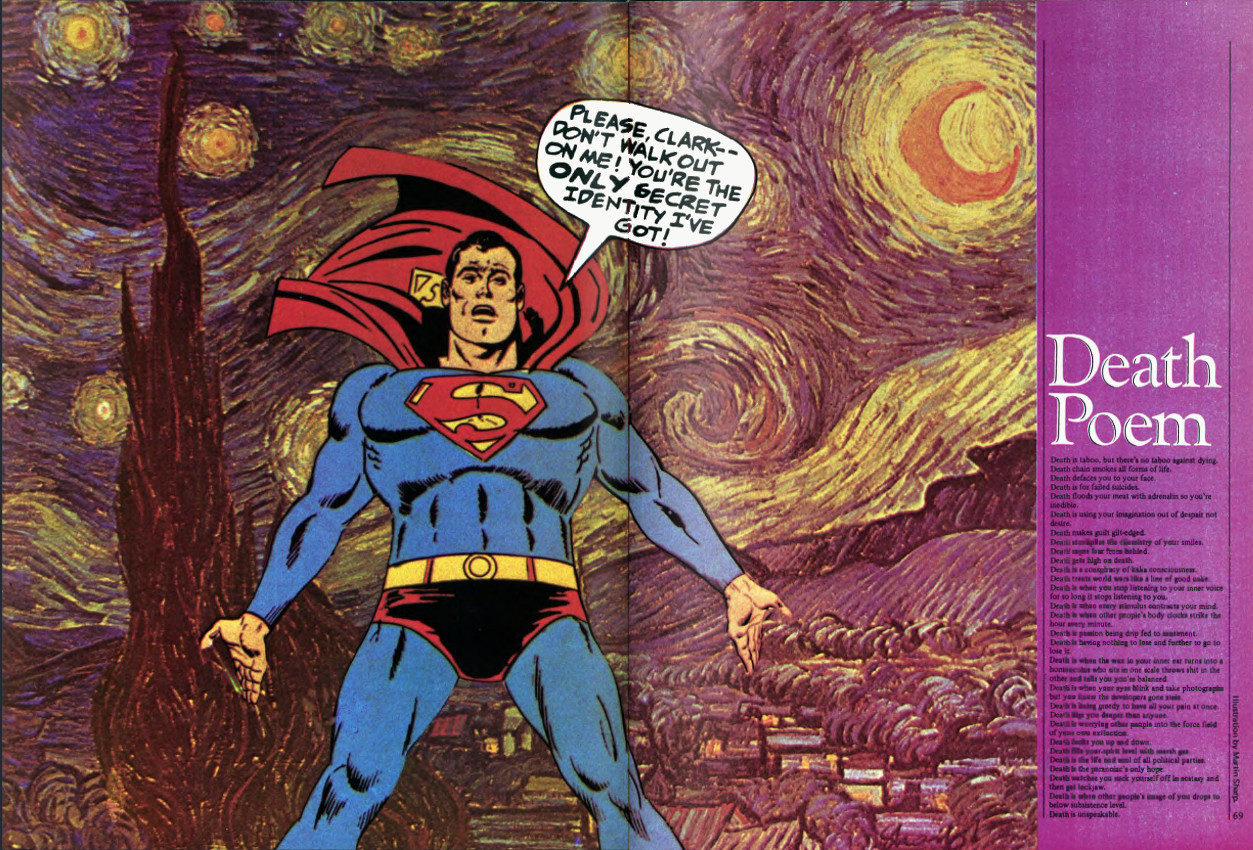 martin sharp and vincent van gogh comprising a cartoon superman a van gogh starry night background alongside an anonymous death poem the colourful two page sp was perhaps the most