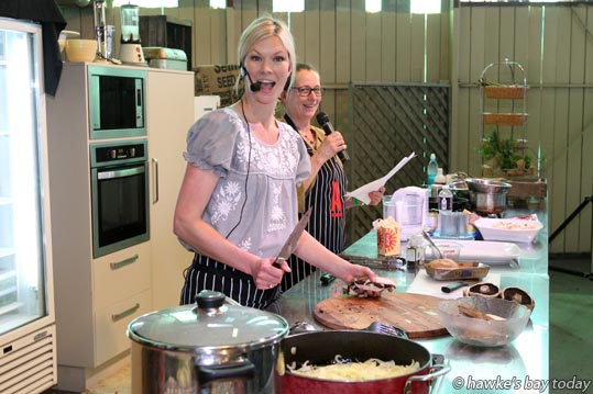 Chelsea Winter holds a cooking demonstration in the Taste Hawke's Bay Pavilion. photograph