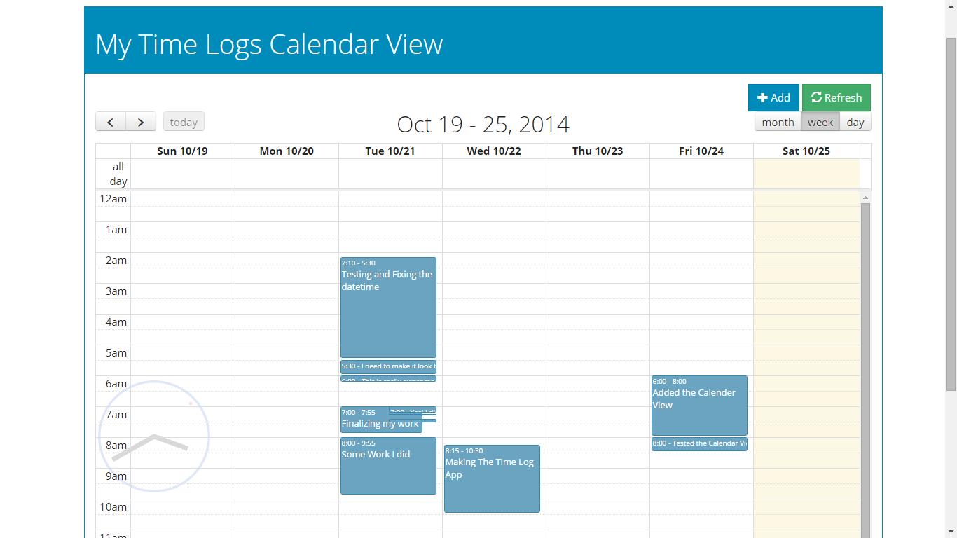 Weekly Calendar Using Javascript : Employee time log calendar view using full js