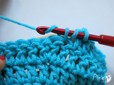Double Crochet Decrease - step by step instruction by Pingo - The Pink Penguin