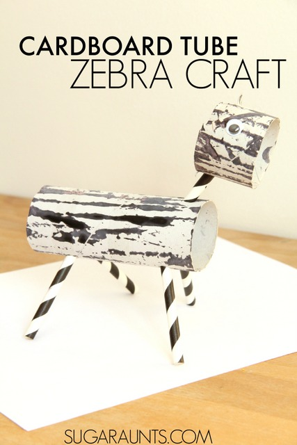 Cardboard tube toilet paper tube zebra craft
