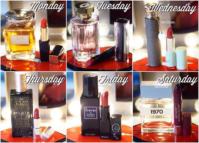 Perfumes from Terry de Gunzberg, L'Artisan Perfumer, Caron, Alaia, Robert Piguet, Bella Freud.  Lipsticks from Estee Lauder, Givenchy, Pixibeauty, ByTerry, Art Deco and Revlon