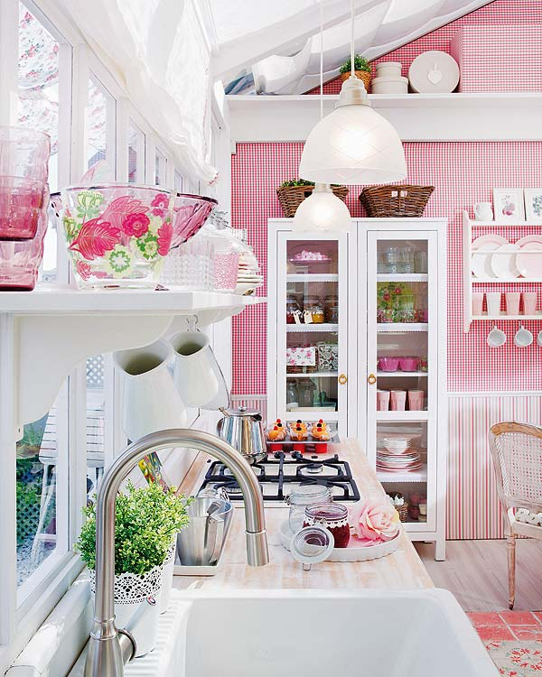 decoracao cozinha fofa:Pink and White Country Kitchen