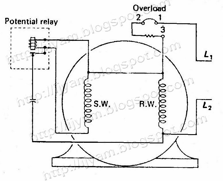 Thermally protected capacitor-start motor with potential relay