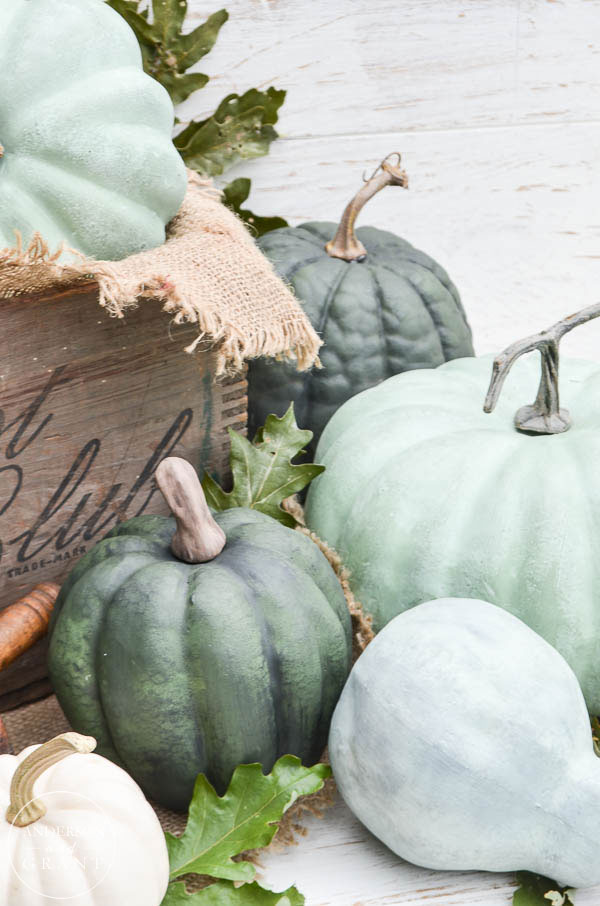 Realistic DIY chalk paint pumpkins in green.  |  www.andersonandgrant.com