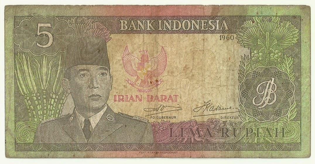 Uang kuno Seri Soekarno tahun Irian Barat 1960 Pecahan 5 rupiah