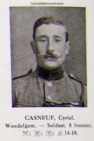 Oud-strijder/vuurkruiser Cyriel Casneuf 1893-1997. Foto uit Guldenboek der Vuurkaart.