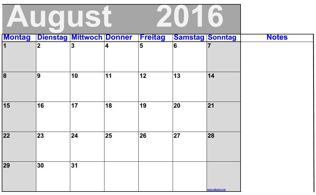 deutsch august 2016 kalender mit noten grosse ziffern 2016 blank calendar calendar en. Black Bedroom Furniture Sets. Home Design Ideas