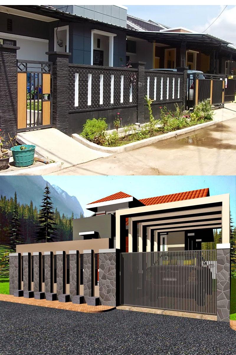 kumpulan desain rumah minimalis modern model pagar tembok