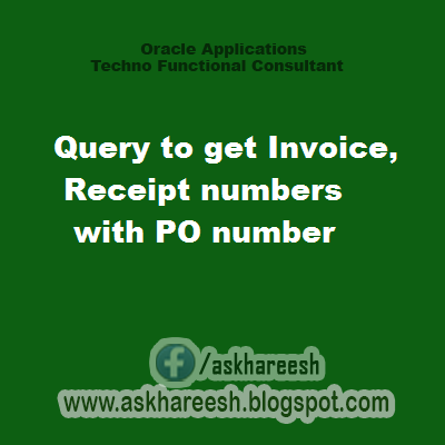 Query to get Invoice,Receipt numbers with PO number, askhareesh blog for Oracle Applications