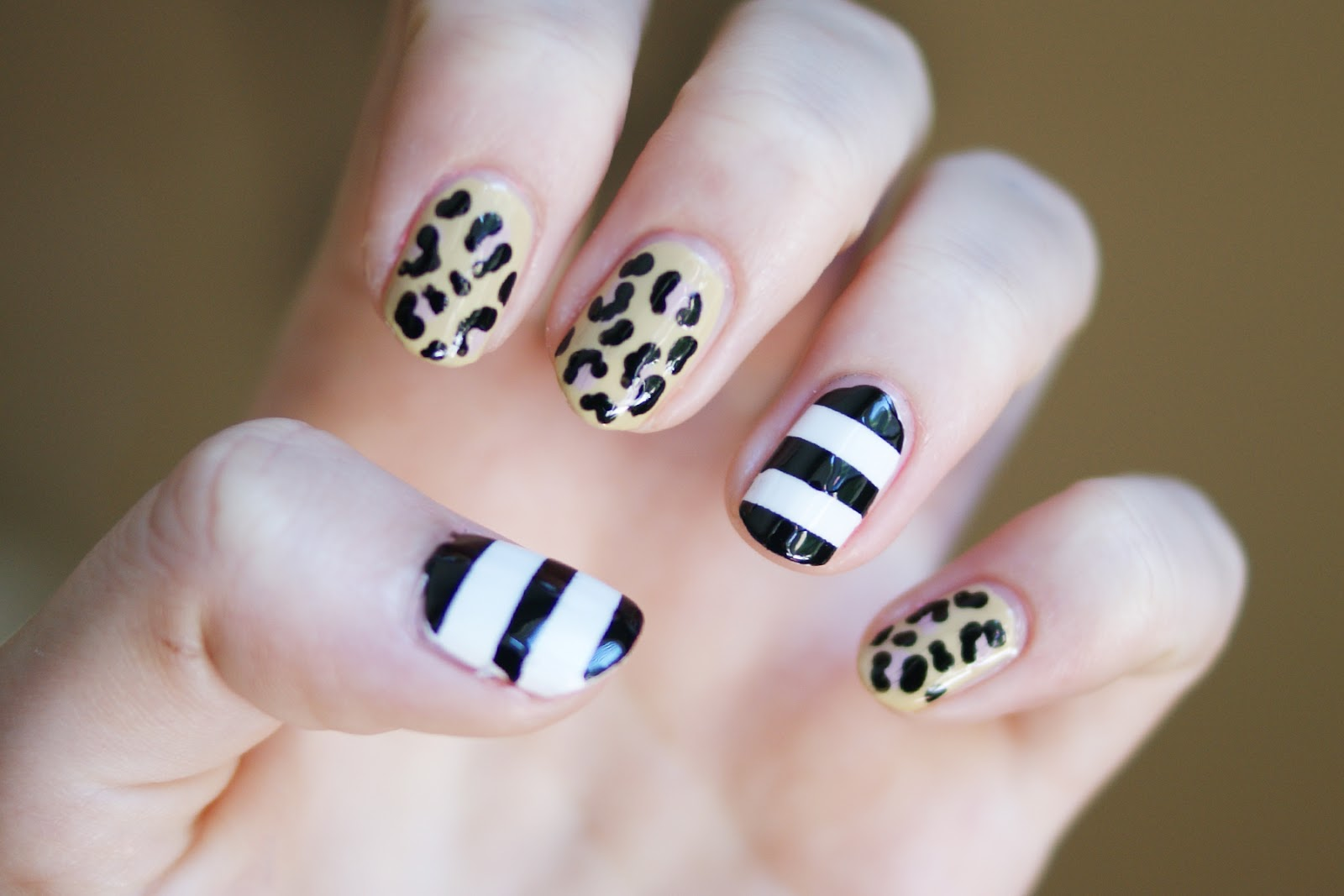 Leopard Print and Striped Nails