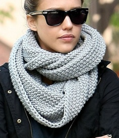 Hand woven scarf, sunglasses and jacket combination for fall and winter