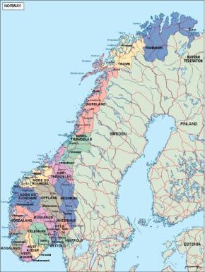 Kart over Norge Politisk