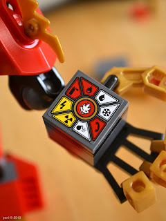 lego ninjago - the underside of the hand piece, with control panel sticker