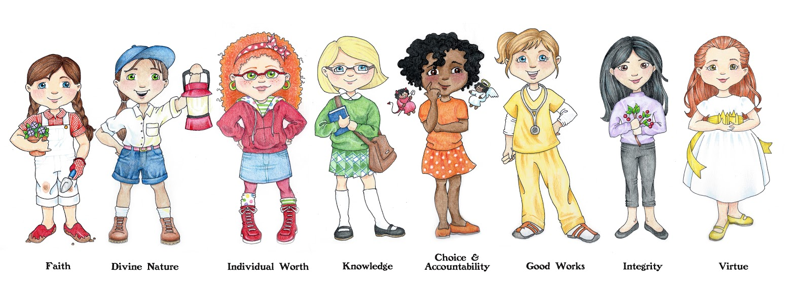 susan fitch design: Young Women's Value Characters