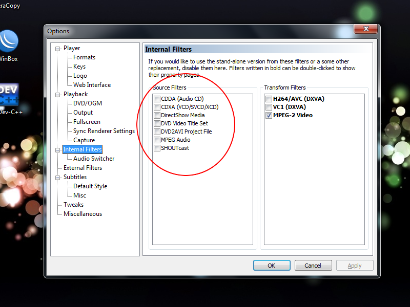 MFC internal Filter Options
