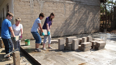 Building the base for a classroom at SONAB