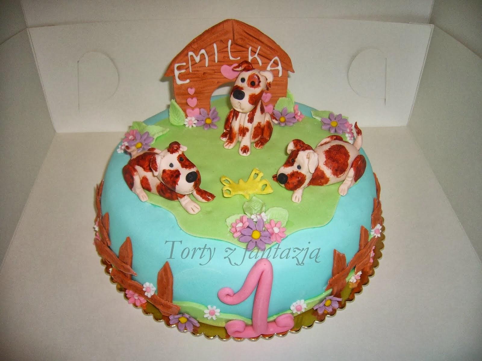 Tort z pieskami na roczek