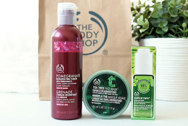 Mini Body Shop Haul, Body Shop Drops Of Youth, Body Shop Face Mask, Body Shop review, Body Shop Pomegranate Toner review,