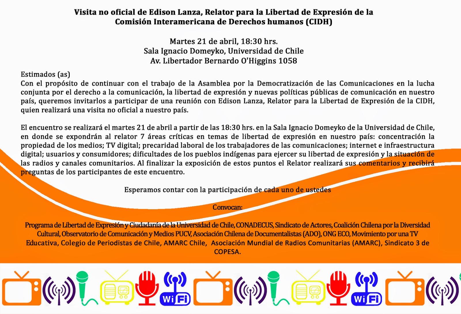 INVITACIÓN: Visita no oficial de Edison Lizana, Relator para la Libertad de Expresión de la Comisión Interamericana de Derechos Humanos (CIDH)