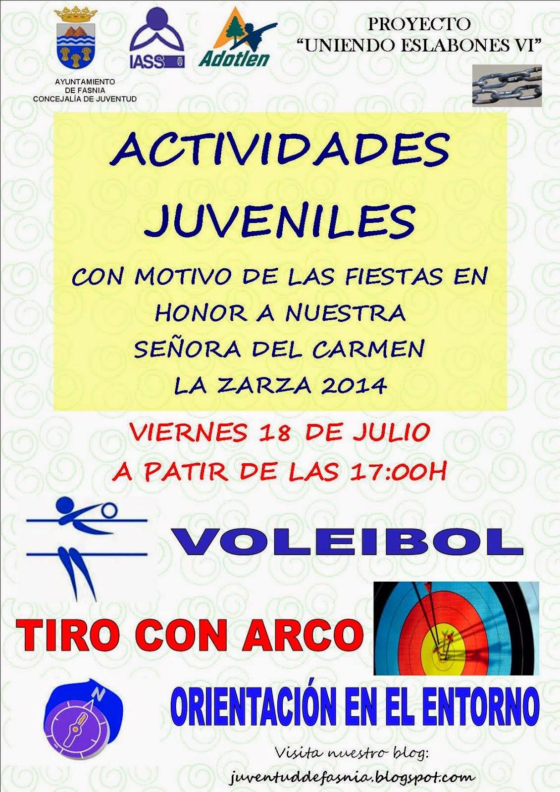 ACTIVIDADES JUVENILES LA ZARZA 2014