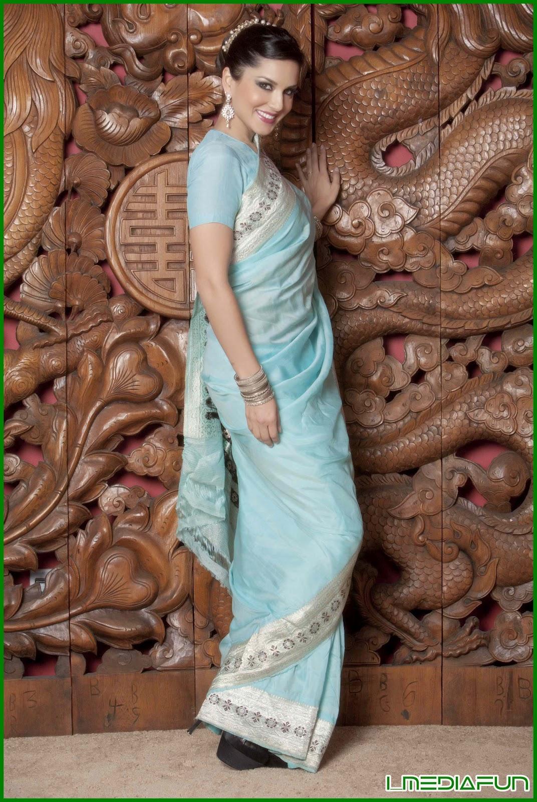 Sunny Leone in blue sharee