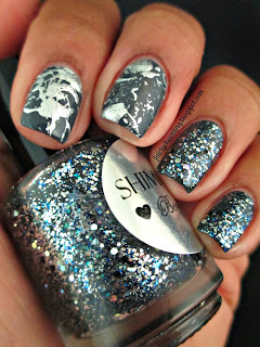 Shimmer Polish, Bernice, simple, glitter, glitter bomb, swatch, grey, silver, splatter, nails, nail art, nail design, mani