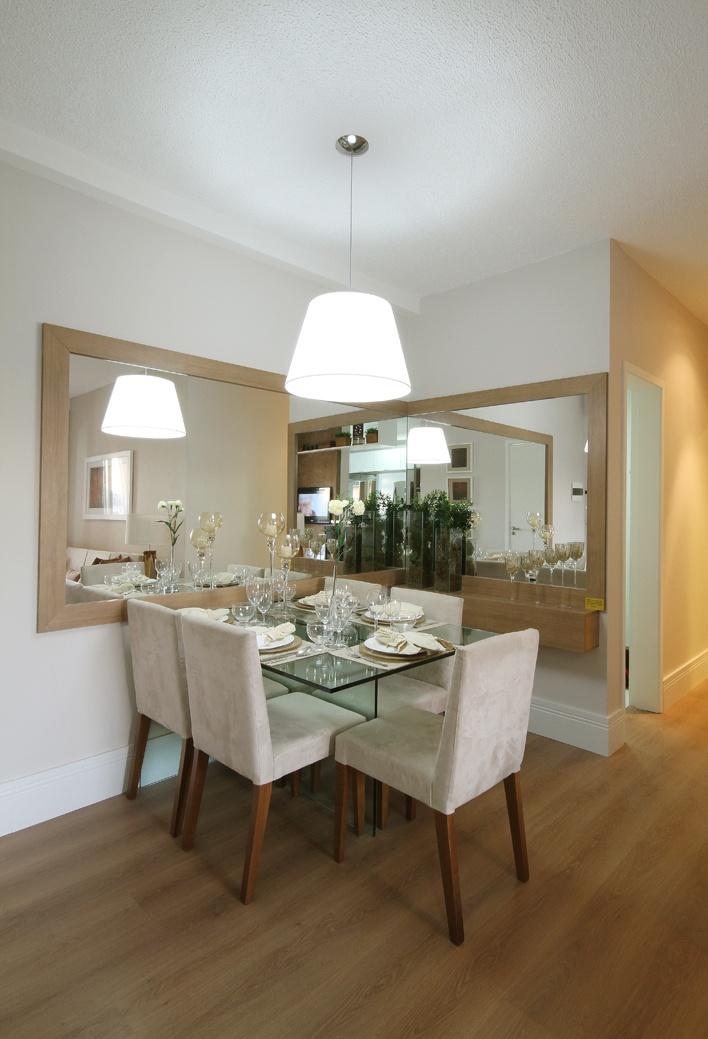 Mesa Em Parede ~ Construindo Minha Casa Clean Salas de Jantar Pequenas Mesa Encostada no Canto da Parede!