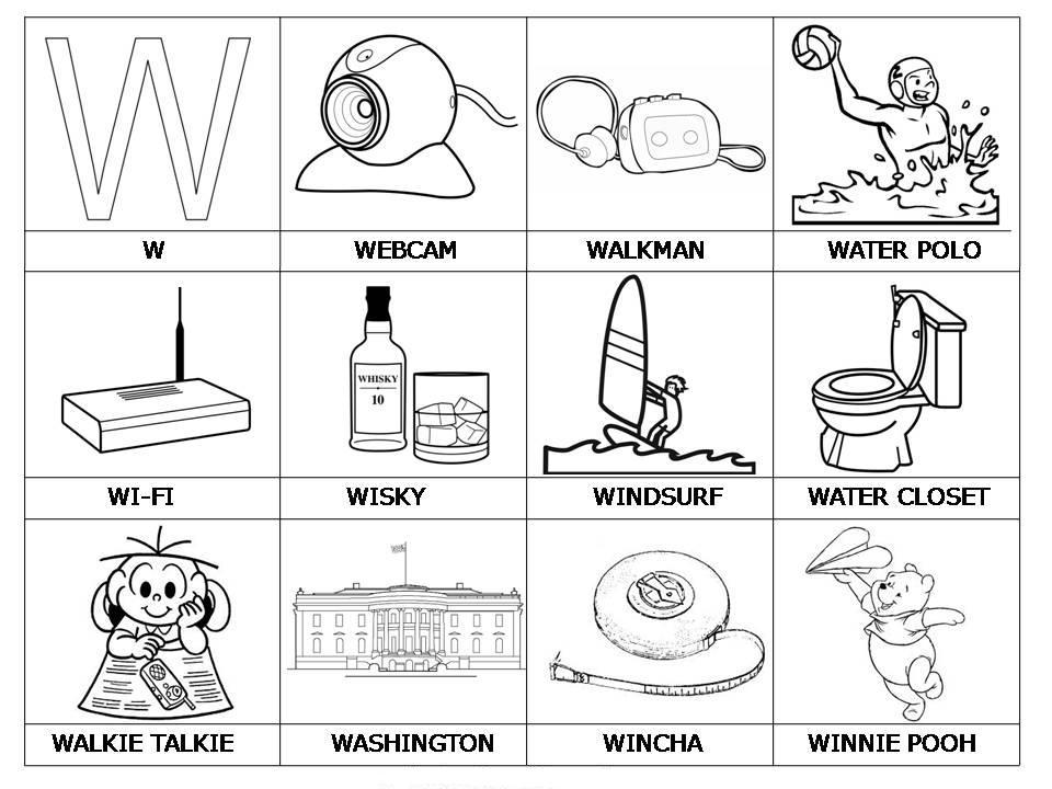 Laminas con dibujos para aprender palabras y colorear con letra  W