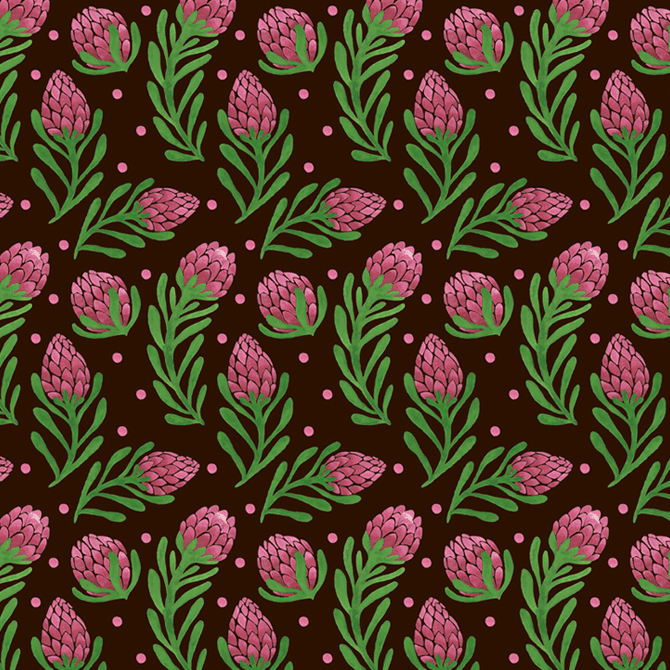 The Sweet Protea Pattern Watercolor Illustration by Haidi Shabrina